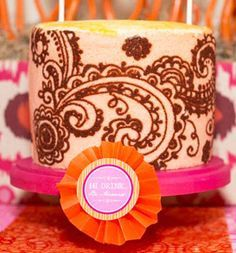 | Stenciled Henna Cake {Mehndi Party}