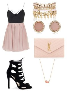 Pink punk by iris-baly on Polyvore featuring polyvore, fashion, style, Topshop, Yves Saint Laurent, Kendra Scott, River Island, Michael Kors and clothing