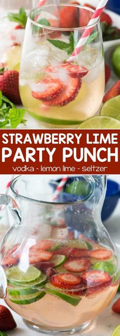 Strawberry Lime Party Punch - this easy cocktail recipe has just 3 ingredients: strawberry vodka, lemon lime soda, and seltzer. The perfect refreshing party punch cocktail! #cocktailrecipes