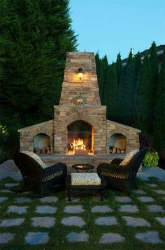 Romantic night outside in front of fire pit