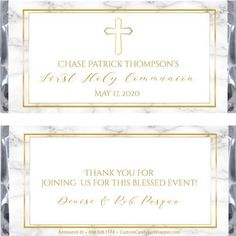Order Marble First Communion Candy Bar Wrappers from Announce It! It's easy to personalize this wrapped Hershey bar. Call us today and order Hershey Chocolate Bar, Hershey Bar, First Communion Favors, First Holy Communion, Solid Background, Candy Bar Wrappers, Text Color, Script, Wrapping