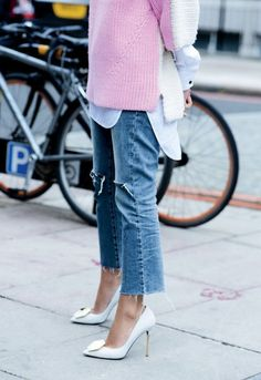 cropped-denim-frayed-denim-pink-and-white-white-heels-short-sleeve-sweater-white-oxford-spring-via-luckymag.tumblr.com