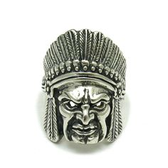 STERLING SILVER RING INDIAN CHIEF SOLID 925 R001536 EMPRESS