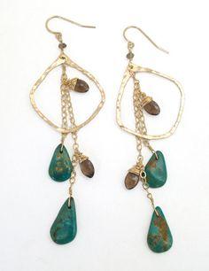 Image of Elysium Jewelry smoky quartz & turquoise earrings