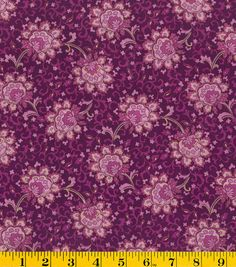 (4) Warwick  Keepsake Calico Cotton Fabric - Luxor Floral Purple Metallic