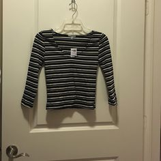 Charlotte Russe crop top Long sleeve crop top / Black with ivory stripes / never worn / with tag / Size Small Charlotte Russe Tops Crop Tops
