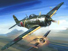 "Kawanishi N1K2-J Shiden Kai (código aliado ""George"") derribando un Grumman F6F ""Hellcat"". Jaroslaw Wróbel. Más en www.elgrancapitan.org/foro/"