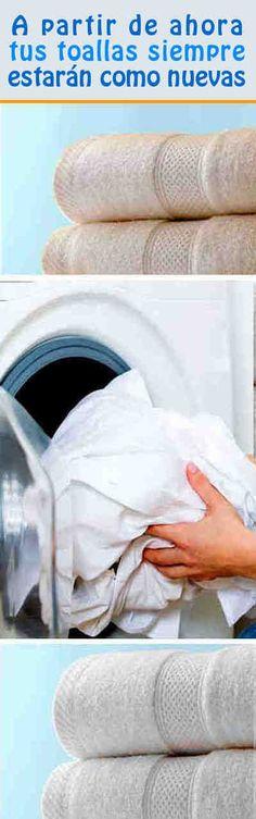 A partir de ahora tus toallas siempre estarán como nuevas e incluso mejores. Simplemente hasta hoy no sabías qué hacer! Diy Cleaning Products, Cleaning Hacks, Linen Storage, Laundry Hacks, Diy Cleaners, Organizing Your Home, Home Hacks, Declutter, Clean House
