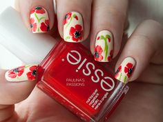 Paulina's Passions: Beautiful poppy flower nails for the Flower's for Mom Nail Art Challenge.