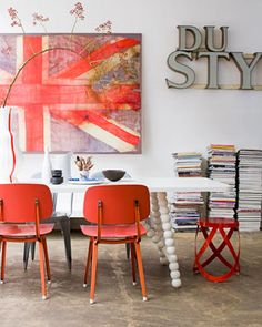Cole and Son Union Jack wallpaper. Industrial Floor Lamps, Industrial Living, Modern Industrial, Design Industrial, Industrial Interiors, Room Inspiration, Interior Inspiration, Design Inspiration, Interior Ideas