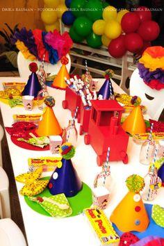 Circus themed birthday party via Karas Party IDeas KarasPartyIdeas.com make your own clown hats!!!!