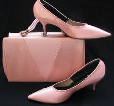 1950 early 60's pink patent leather shoes with matching handbag ...