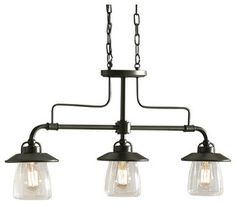 Allen + Roth Bristow Mission Bronze Kitchen Island Light With Clear Shade - farmhouse - chandeliers - by Lowe's