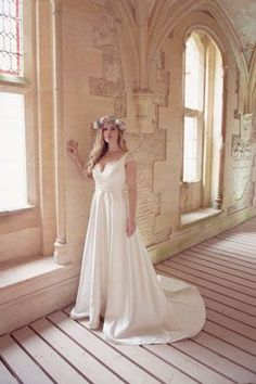 'Octavia' Stunning high waist A-line satin gown with soft lace bodice and cap sleeves. From the 2016 collection 'Shakespeare in Love'