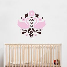 4make Swans Wall Decal  Folklore Style Design