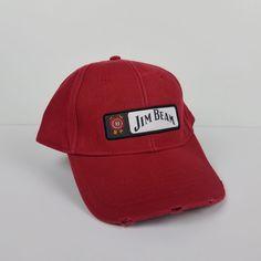 9e45ff631e166 Jim Beam Whiskey Red Ball Cap Strapback Adjustable Trucker Farmer Hat  Distressed  Stylemaster  BaseballCap