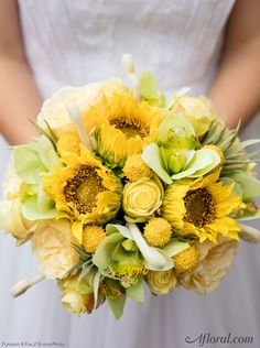 Make your own summer wedding bouquet with artificial sunflowers from Afloral.com and a simple DIY by bouquet designer Pumpkin & Pye.