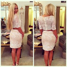 Two piece lace dress! Comes in black as well! Beautiful homecoming or cocktail! #homecoming2016#dresses#twopiece#stunning#lace#dresses
