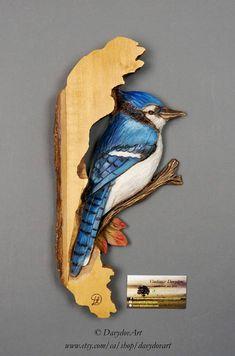 Cadeau d'anniversairGaie Bleu Sculpté sur bois Peint à la