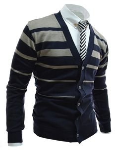 Korean casual fashion cardigans for men. irregular striped pattern knitted cardigans, v-neck button-down long sleeved clothing for school, work, dating . Sharp Dressed Man, Well Dressed Men, Look Fashion, Mens Fashion, Looks Style, My Style, Slim Man, Swagg, Knit Cardigan