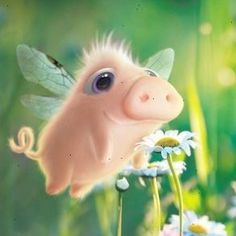 Digital Painting Inspiration Vol. 17 - very cool - Tiere Cute Animal Drawings, Cute Drawings, Foto Picture, Art Mignon, Pig Art, Flying Pig, Cute Creatures, Whimsical Art, Cute Illustration
