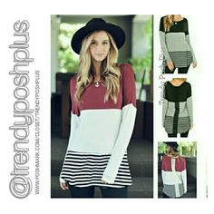 Bundle Savings! 2 Color Block Tunics $60.00 Popular wine red color tunic and black and grey stripe color block tunic with lace detail down the back. Made of cotton and spandex blend. Tops Tunics