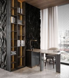 Apartment with brutal finishing materials in harmonic combination with trendy colours Paris Apartments, Luxury Apartments, Luxury Homes, Small Apartments, Interior Design Studio, Apartment Interior, Residential Architecture, Office Interiors, Luxury Interior
