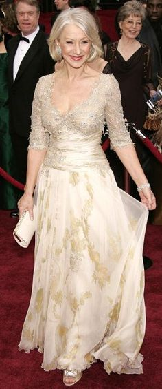 Helen Mirren Oscars 2007: Christian Lacroix dress...I love this dress. And I hope to age as beautifully and gracefully as she has.