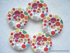 30mm Wood Button Multi Spot Pattern Pack of 5 by berrynicecrafts, £1.00