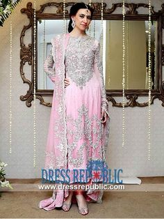 Dark Pink Churidar Sleeve Long Shirt Pakistani Wedding Dresses Online by Maria B in Pink