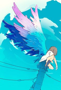 Wings are meant to fly Art Anime Fille, Anime Art Girl, Aesthetic Art, Aesthetic Anime, Art Sketches, Art Drawings, Arte Peculiar, Art Mignon, Wallpaper Animes