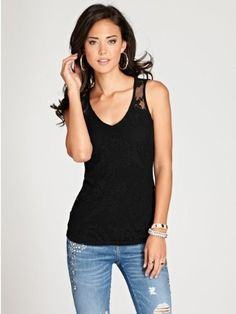 GUESS Women's Sleeveless Paisley Lace Top, JET BLACK (LARGE)