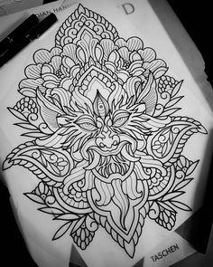 Tattoo Arm Designs, Sketch Tattoo Design, Mandala Tattoo Design, Dragon Tattoo Designs, Tattoo Sketches, Dot Tattoos, Head Tattoos, Dot Work Tattoo, Ink Tattoo
