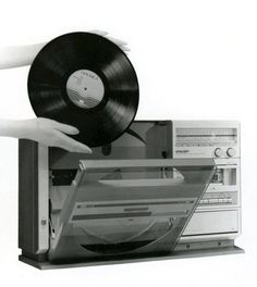 Sharp VZ-1000, the first generation of their vertically-mounted record player stereos and boomboxes.