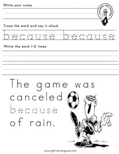on  Sight Worksheets  Sight Words, sight Word  worksheet Word word  Sight Pinterest because