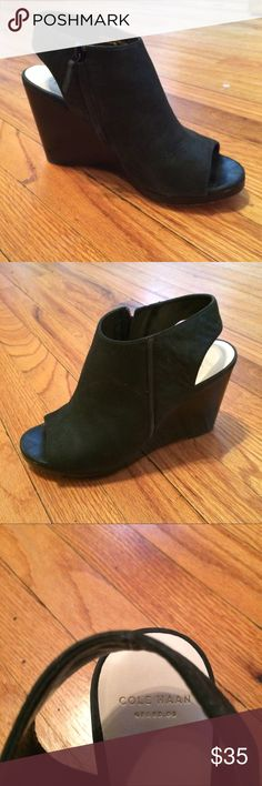 Cole Haan Leather Peep Toe Wedges High quality leather, excellent condition just wore on the soles, super comfy Cole Haan Shoes Wedges