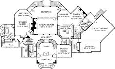 First Floor Plan of Colonial House Plan 96904
