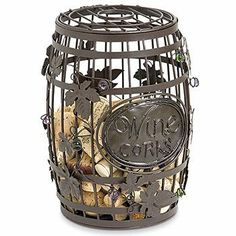 Wine Barrel Cork Cage by Epic. $23.95. Ships next business day. Cleverly crafted from metal and dotted with whimsical multi-colored glass accentsOversized to hold a huge number of corksThe soft patina finish gives a fanciful flairThe perfect gift for you or a friend. A fun and innovative way to keep and cherish all of your wonderful wine memories and a great way gift to give a bottle of wine to your friends and family. They'll never forget this clever present. Just drop your...
