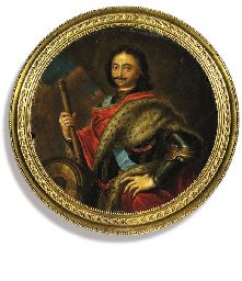 Peter the Great (1674-1725), standing in armour and a fur-lined red cloak over his arms, wearing the blue sash of the Imperial Russian Order of St. Andrew and holding a baton; drapery and sky background