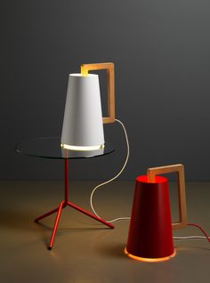 Table lamp / contemporary / wooden - UMPALAMPA by Casa 1976 - miniforms Glass And Aluminium, Contemporary Table Lamps, Small Tables, Wooden Handles, Lighting Design, Solid Wood, Lights, Inspiration, Home Decor