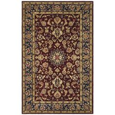 Size X Safavieh Handmade Classic Kerman Burgundy/ Navy Wool Rug - X X - Burgundy/Navy), Red Wool Area Rugs, Wool Rug, Navy Rug, Oriental Pattern, Classic Collection, Persian Rug, Colorful Rugs, Rug Size, Burgundy