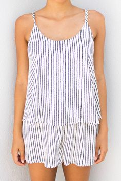 PAINTER WHITE STRIPED ROMPER