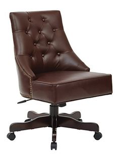 Office Star Rebecca Decorative Chair In Cocoa Bonded Leather