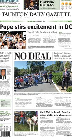 The front page of the Taunton Daily Gazette for Thursday, Sept. 24, 2015.