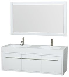 Axa 60 inch Double Bathroom Vanity in Gloss White, Acrylic Resin Countertop, Int modern-bathroom-vanities-and-sink-consoles