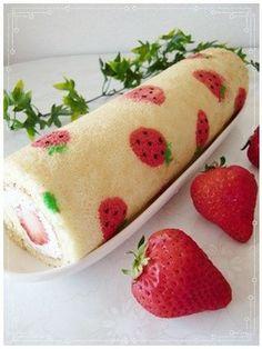*いちご模様のロールケーキ* by ★★☆さおりん☆★★ [クックパッド] 簡単おいしいみんなのレシピが131万品