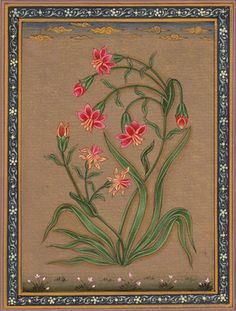 Indian-Floral-Flower-Miniature-Painting-Moghul-Watercolor-Art. From the 17th century onwards, under the Mughal dynasty, flower and leaf forms became a popular art subject. This is partly due to the personal taste of the Mughal emperor Jahangir (1605-1627) who had a great love of nature and was very interested in capturing plants and animals on paper.