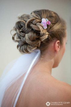 Bride with up-do and veil this would be perfect for DINA!!
