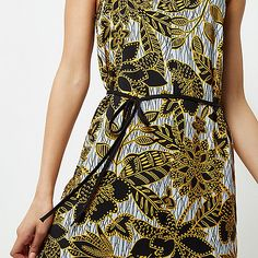 Yellow floral print tie waist midi slip dress - slip / cami dresses - dresses - women