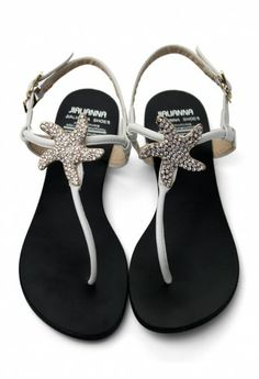 Crystal Starfish Flat Sandals in White - Shoes - Goods - Retro, Indie and Unique Fashion Cute Sandals, Flat Sandals, Cute Shoes, Flip Flop Sandals, Me Too Shoes, Gladiator Sandals, Leather Sandals, Unique Fashion, Starfish Sandals